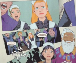 In a scan from the comic, many people are shocked or horrified that Giselle has been selected as an apprentice; Genevieve stands with tears in her eyes.