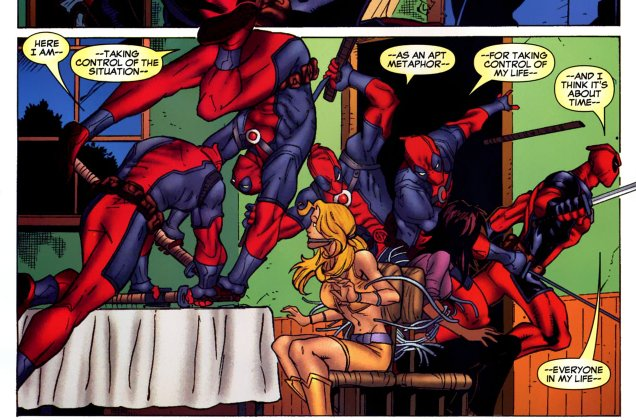 Panel showing Wade doing a flip across the panel, picking up a katana and using it to free his lady friends from where they're tied to a chair – everything else is one freeze frame, but we see him multiple times across the panel. He's that fast!