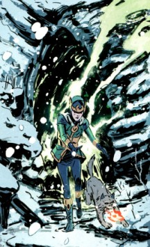 Loki stumbles out of the cave with his new dog Thori, looking the worse for wear. Green flames, courtesy of Leah, trail out around him.