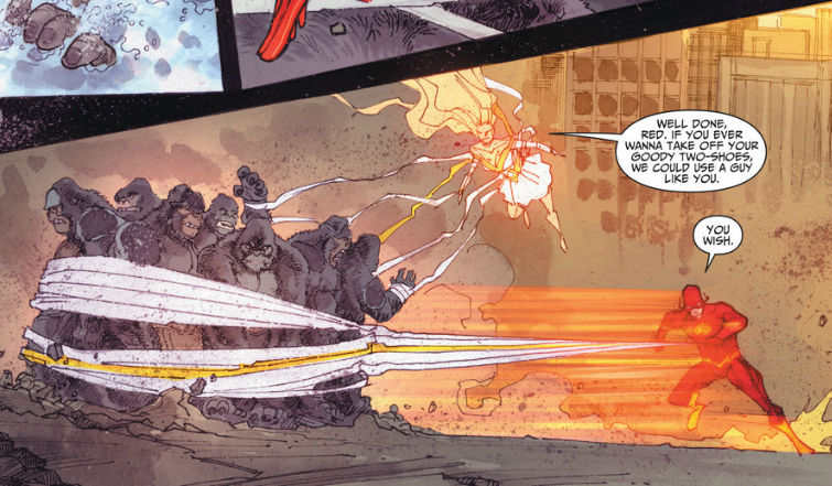 Panel where the Flash has used his super-speed to tie up a bunch of gorillas. Glider is skating in the air and says, 'Well done, Red. If you ever wanna take off your goody two-shows, we could use a guy like you.' Flash says, 'You wish.'