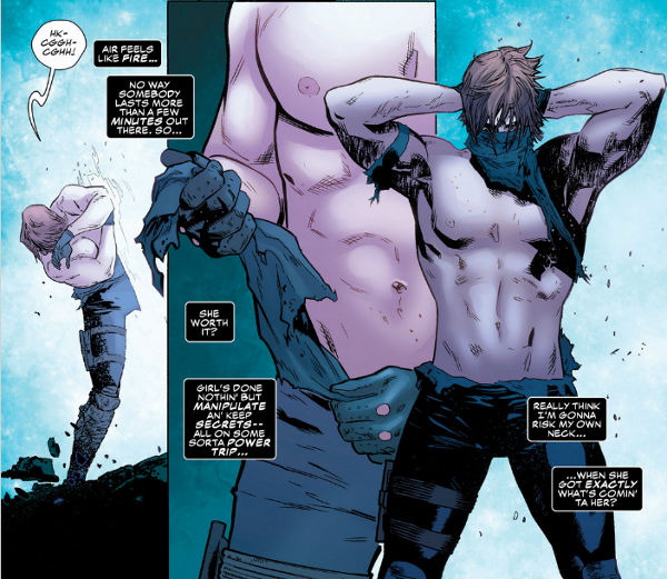 A series of panels where Gambit has had his shirt torn to shreds. He uses what's left on the shirt to make himself a face-mask so he can go through some weird portal. What actually happens isn't really relevant, it's just the shirtlessness we're interested in.